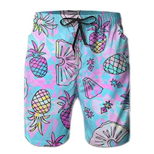 Shorts Men Lining Adjustable Cord Trunks Pineapple Beach Trippy Mesh With Dry Swim Quick Pull Pattern Stripe 9YWED2ebHI