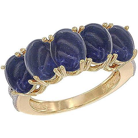 14ct oro amarillo Natural Lapis de 0,75 ct. 7 x 5 mm Oval 5-piedra anillo de madre con detalles en diamante, Tamaños J a T con medias