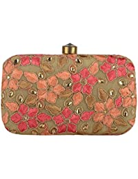 Revolution Handicraft Party Wear Hand Embroidered Box Clutch With Pink And Glass Bead On Elegant Box Clutch Imported...