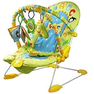 Monsieur Bébé ® Transat vibrant et musical + Barre à jouets et dossier inclinable - Modèle Jungle - Norme EN 12790