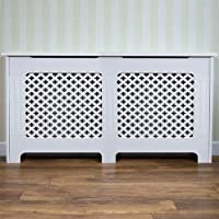 Home Discount Oxford Radiator Cover Traditional White Painted MDF Cabinet, Medium
