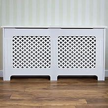 Vida Designs Oxford Radiator Cover Traditional White Painted MDF Cabinet, Medium