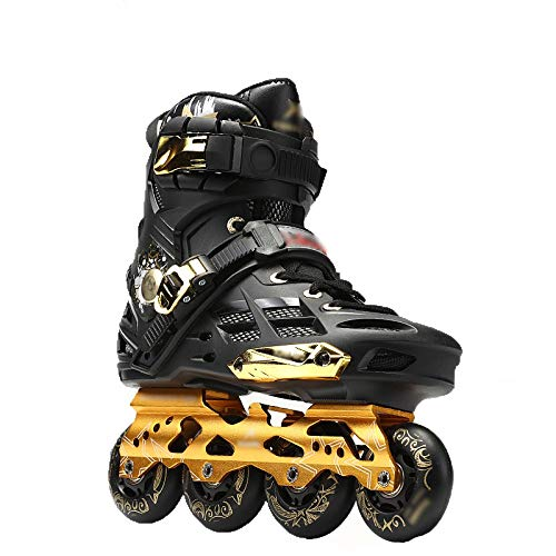 Inline Skates Adult Fancy Straight Männer und Frauen Full Flash Flat Bottom Anfänger Roller Schuhe,Black,44 (Roller Skates Flash)