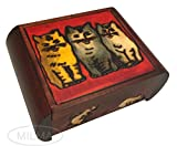Enchanted World of Boxes Drei Katzen Secret Aufbewahrungskästchen aus Holz Polish Handmade Jewelry Box