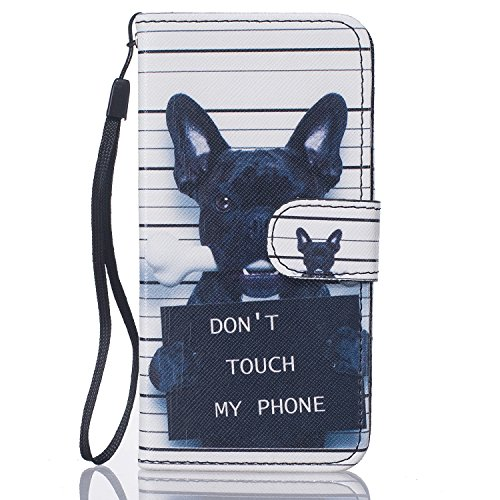 Custodia iPhone 6, iPhone 6S Custodia Pelle,Cozy Hut ® Custodia in Pelle, Supporto Stand e Porta Carte Integrati Portafoglio Flip Cover Stile Libro con Chiusura Magnetica per iPhone 6 /6S (4,7 Zoll), [Shock-Absorption] [Ultra Slim] Portafoglio Wallet Libro Case Cover in PU pelle Borsa e Cinghia Portatile TPU Silicon Gel Protezione con Funzione di Supporto - Black Dog - Shock Braccio