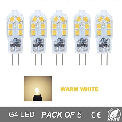 10w Ersatz (5er Pack G4 2W LED Lampen,150LM, Ersatz für 10W Halogenlampen,12V AC / DC, Warmweiß 3000K,360° Abstrahlwinkel,LED Birnen,LED Leuchtmittel)