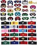 DREAMWIN 48 Piezas Máscaras Superhéroe et Pulseras Superhéroe, Máscaras de Cosplay de Superhéroe, Máscaras para Niños y Adultos