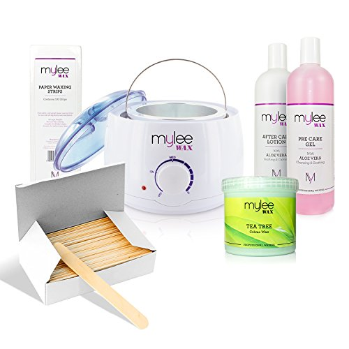 mylee-complete-waxing-kit-with-heater-strips-spatulas-pre-after-care-lotion-kit-tea-tree-wax