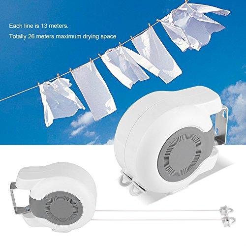 EBTOOLS Wäscheleine, 13m Tragbar Ausziehbare Wäscheleine Trockenleine Wandtrockner mit automatischem Rollsystem, doppelter Linie, geeignet für zu Hause, Hotel, Salon und Reise