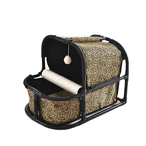 OHANA Casa Juego Gatos Multifuncional Leopardo, Camas