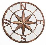 Primrose ReflectTM Runder Metallspiegel mit Kompass-Motiv, 60cm