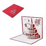 JAGENIE Vatertagskarte, Muttertagskarte, 3D Pop-up-Karte, 3D-Grußkarte, Dank-Karte, Geburtstagskarte, Geburtstagskarte, Valentinstag Geschenkkarte,Dreistufiger Geburtstagskuchen