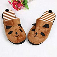 ZLAHY flip Flop Lovely Cartoon Panda Slipper Female Home Floor Soft Stripe Shoes Teddy Fluffy Animals Slippers Pantofle Damskie Slippers