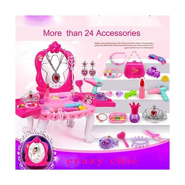 SUUKI Trucchi Bambina, Specchiera Bambina con 24 Accessori, Toeletta Giocattoli Bambina con Set Parrucchiera Bambina… 3 spesavip
