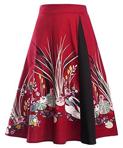 U-shot Women Floral Elegant Business Party A-line Skirt Dress