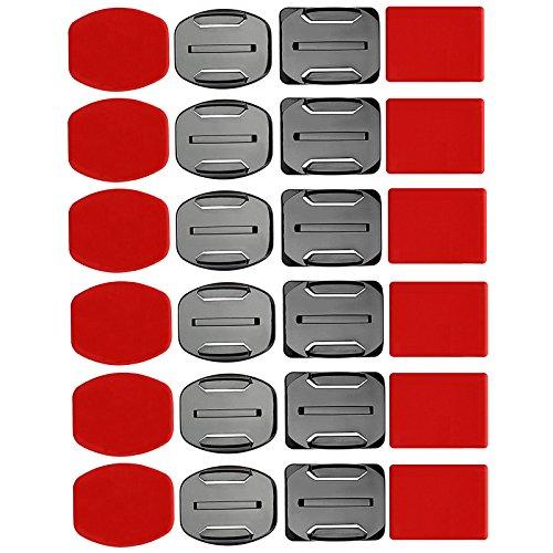 SHOOT Kit de Accesorios para el Casco 12x Soporte Superficie + 12x Adhesivos Pegatinas para GoPro Hero 6/5/4/3+/3 SJ4000 SJ5000 Cámaras de Acción
