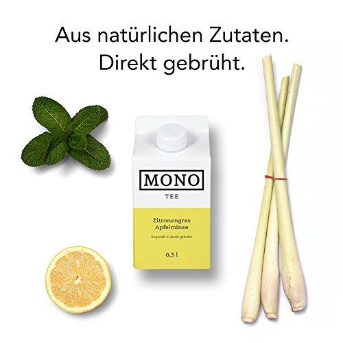Mono Tee Bio-Eistee Zitronengras-Apfelminze, 8er Pack (8 x 500ml) ungesüßt, kalorienarm, direkt gebrühter Kräutertee – Ihre Alternative zu Wasser
