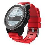 XiYunHan Smart Watch Sportuhr GPS Bluetooth IP68 Wasserdicht Pulsmesser Schrittzähler S968 (Schwarz, Rot, Silber) (Color : Red)