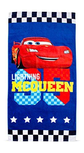 Character world disney cars licenza 698-telo da spiaggia, in cotone, colore: blu, 150 x 75 cm