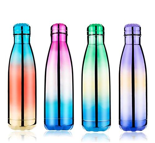 Frola - wiederverwendbare Wasserflasche aus Edelstahl, doppelwandig, vakuumisoliert, umweltfreundlich, für heiße und kalte Getränke, 500ml, bestes Geschenk für Outdoor, Sport, Reise, Rainbow Blue
