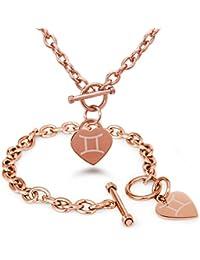 Acero Inoxidable Geminis Símbolo de la Astrología Encanto del Corazón del Grabado Pulsera y Collar