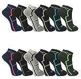 BestBuy-Shop 12pares HOMBRE Zapatillas/Calcetines para deporte y ocio–Alto contenido de algodón–Diseñado en Alemania–Tamaño 39–42, 43–46, diseño 1, 39-42