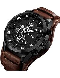 Relojes para Hombres Cronógrafo  Date 30M Resistenteal Agua Muñequera  Desmontable De Cuero 6f7cb1556505