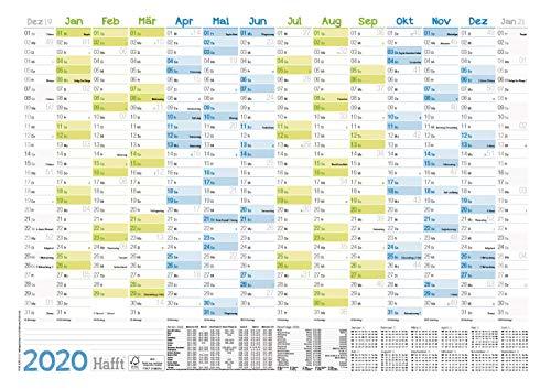 (42 x 30 cm) für 14 Monate Dez 2019 - Jan 2021 | Wandplaner mit Ferien- und Feiertage-Übersicht, FSC®-Papier, gefalzt + extra A4-Kalender! ()