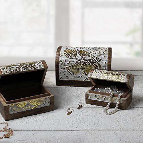 Handgefertigt Holzern Aufbewahrungsbox Aufbewahrungskiste Schmuckkästchen Organizer Mehrzweckbox mit Handschnitzerei Keltisches Design Zuhause Dekor - Schätze Weiße Kommode