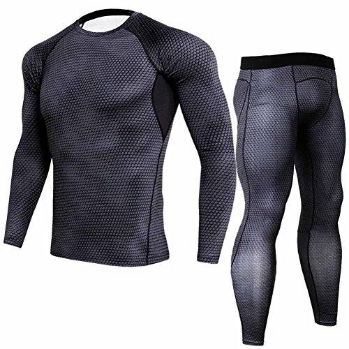 Zarupeng Herren Serpentine Print Sport Lauf Yoga Langarm Fitness Schnelltrocknendes T-Shirt Sweatshirt Oberseiten + Stretch Lange Hosen Set (L, Weiß)