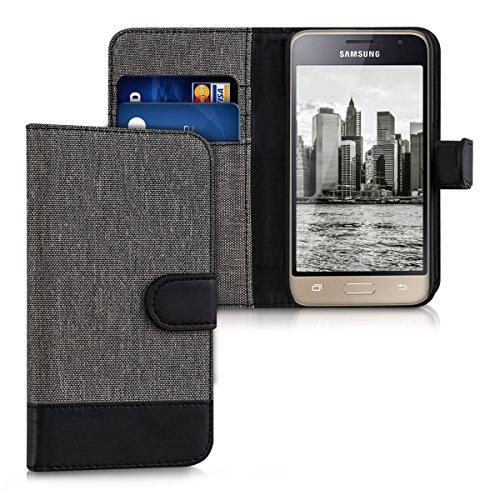 kwmobile Samsung Galaxy J1 (2016) Hülle - Kunstleder Wallet Case für Samsung Galaxy J1 (2016) mit Kartenfächern und Stand