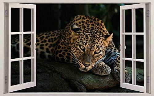 Pegatinas 3D Vinilo Leopardo animal Ventana 60 X 90 cm Adecuado para Decoracion Habitación Arte Mural