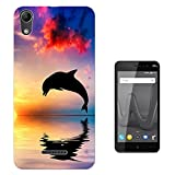 002777 - Happy Dolphin Jumping Sunset Ocean Design Wiko