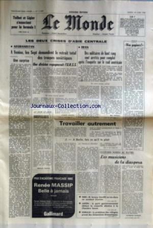 MONDE (LE) [No 11009] du 24/06/1980 - TALBOT ET LIGIER S'ASSOCIENT POUR LA FORMULE 1 - LES 2 CRISES D'ASIE CENTRALE - AFGHANISTAN ET IRAN - TRAVAILLER AUTREMENT PAR ROUARD - CULTURES NOIRES AU HAVRE - INDE - M. SANJAY GANDHI SE TUE DANS UN ACCIDENT D'AVION - JAPON - SOMALIE - LES REFUGIES.