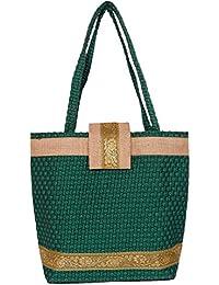 Womaniya Women's Handbag (Green) (Handicraft Jute Bag)