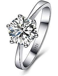 Skyllc® Delicado de plata chapado espumoso exquisito diamante de imitación anillo de bodas de compromiso