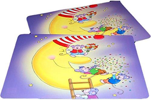 Niedliche Kinder Angebote Halloween Für (2 teiliges TISCHSET Kinder Platzdeckchen Platzmatten im 2er SET ABWASCHBAR Platzset Mäuse auf dem Mond lila je 30x45 cm (Mäuse Lila)