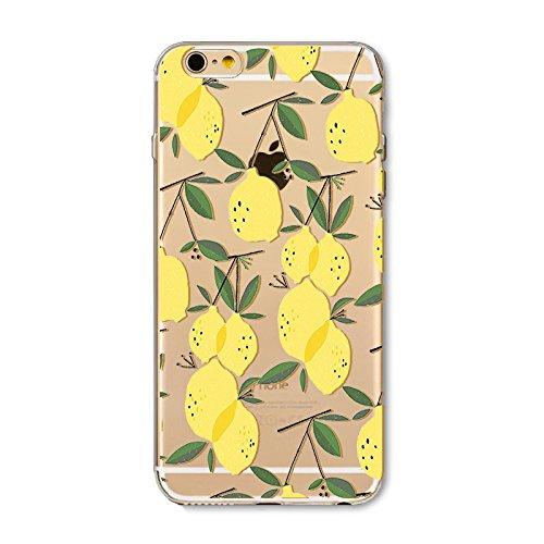 hone 5S Silikon Transparent weiche Gel TPU Slim Schutzhülle für iPhone SE/iPhone 5S Ultra Dünn Stoßfest Gummi Durchsichtig Handyhülle Zitrone Obst Sommer ()