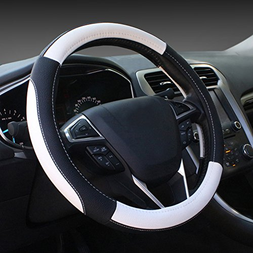 microfiber-leather-white-and-black-steering-wheel-cover-universal-fit-38cm