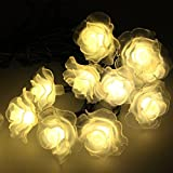 ParaCity Solar Lights 16 Feet 20 LED Rose Flower Party Light Solar Garden Lights Waterproof Decorative Lighting Floor Lamp for Garden Patio Yard Wedding Home ChrismasTree Parties (Warm White)