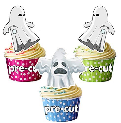 12 X Décorations d'Halloween Blanc/fantôme effrayant de carte en Papier comestible prédécoupé pour décorations de gâteau avec support de fixation