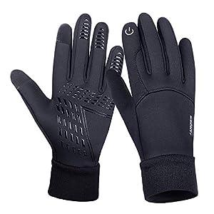 coskefy Fahrradhandschuhe Winter Sport Warm Touchscreen Laufen Arbeit Outdoor Gloves Damen Herren Rutschfest Winddicht schwarz Fitness Camping Wandern Reiten Bergsteigen Spleißen Handschuhe