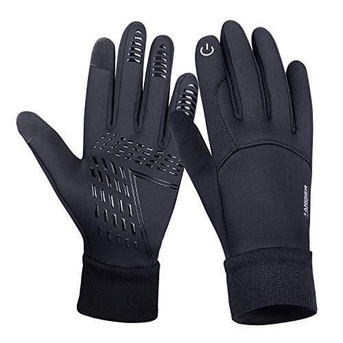 coskefy Fahrradhandschuhe Winter Sport Warm Touchscreen Laufen Arbeit Outdoor Gloves Damen Herren Rutschfest Winddicht schwarz Fitness Camping Wandern Reiten Bergsteigen Handschuhe(Schwarz-B,L)