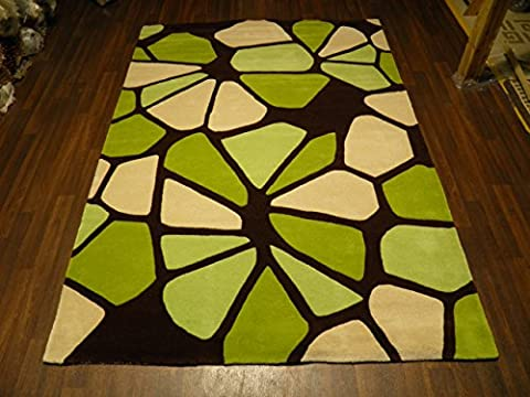 Indian Hand Tufted Textured 100% Wool Rug 160cm x 230cm Approx 8x5 Stone/Green