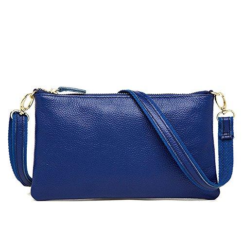 MeiliYH Damen Leder Casual Schultertaschen Mode Litchi Muster einfarbig kleiner Rucksäcke für Damen blau