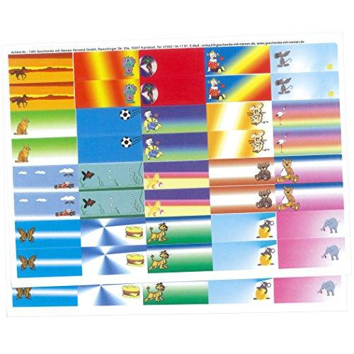 Geschenke mit Namen 1483 Kinder-Etiketten zum Selbstbeschriften für Schulhefte, Schulbücher, Schulordner, Kinderbücher, 80 Stück, circa  56 x 23 mm, bunt-gemischt mit 20 schönen Kinder-Motiven bunt