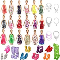 BESTPICKS 26 Item/Set contains 10 Pcs Mix Sorts Beautiful Party Clothes Fashion Dress+6 Plastic Necklace, 10 Pair Shoes For Barbie Doll