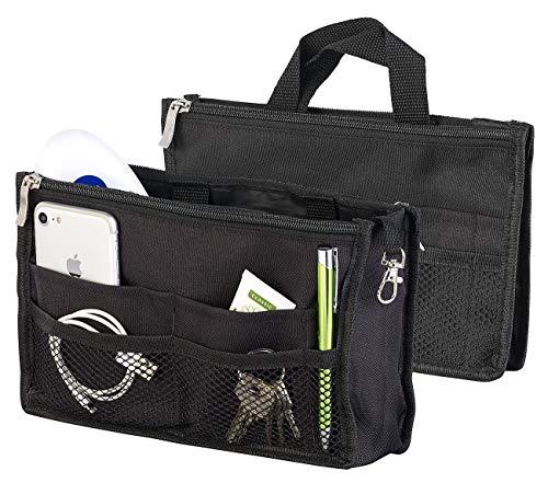 Xcase Taschen Organizer: Handtaschen-Organizer, RFID-Schutz, 13 Fächer, 26 x 16 x 8 cm, schwarz (Handtaschen Organizer klein)