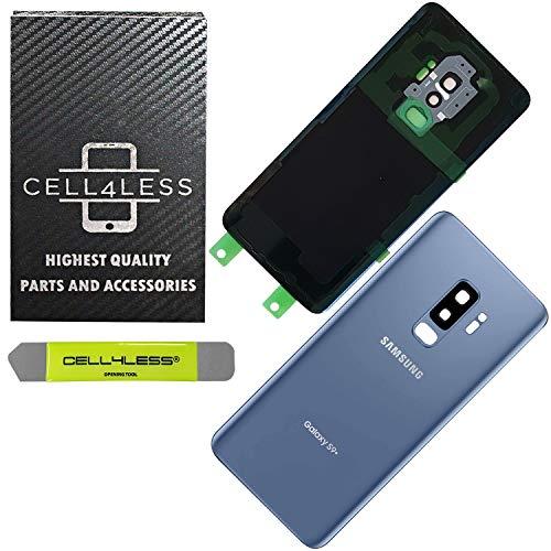 CELL4LESS kompatible Rückglasabdeckung mit vorinstalliertem Kameralinse - Klebstoffentferner - Kameralinse für Samsung Galaxy S9+ Plus - alle Modelle G965 alle Träger - OEM-Ersatz, blau