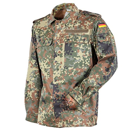 FLECKTEX Original Bundeswehr BW Feldbluse Flecktarn 5- Farbig für Männer   Outdoor Kampfbluse und Survival Bluse   Tactical Bluse und Security Bluse (5, Flecktarn 5- Farbig)